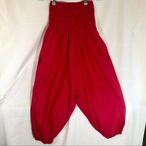 Red Lounge Elastic waist, Drop crotch Harem Pants